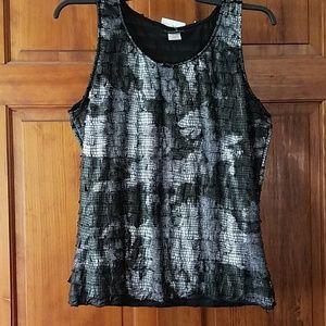Black and metallic ruffle shirt